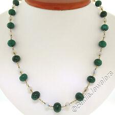 "Antique 14K Yellow Gold 18"" Graduated Alternating Opal & Malachite Bead Necklace"