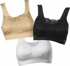 3 Pack Genie Milana Bra Lace Cami Top Pads Incl. Black, White, Beige - All Sizes