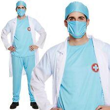 Adult ER Surgeon Costume Scrubs Doctor Hospital Uniform Mens Fancy Dress New