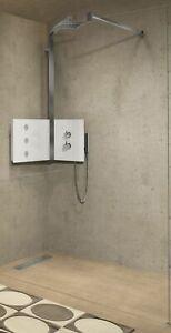 Novellini Sint Eck Duschpaneel Duschsystem Thermostat weiß Glas Dusche SINTVM-H