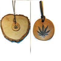 Cannabis Marijuana Leaf Necklace Handmade Eco Engraved Wooden Pendant  Charm