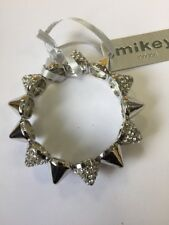 Mikey London Silver & Crystal Stud Stretch Bracelet Ladies, Brand New Fashion