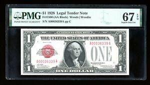 DBR 1928 $1 Legal Superb Gem Fr. 1500 PMG 67 EPQ Serial A00036339A