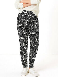 Ladies M&S Jersey Palm Print Tapered Trousers Size 12-22 RRP £22.5 LTAug11-1