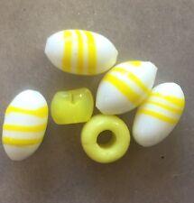 Vintage Japan Lemonade Yellow & White Raised Swirl Oval Mixed Art Glass Bead Lot