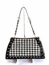 NEW DESIGNER TRINA TURK BLACK/WHITE HOUNDS-TOOTH PATENT STUDDED CHAIN STRAP BAG