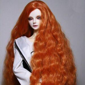 """BJD Doll Hair Wig 8-9""""1/3 SD DZ DOD Rhapsody fluffy long curly orange wig"""