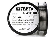 TEMCo Kanthal A1 wire 27 Gauge 50 Ft Resistance AWG A-1 ga