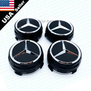 4pcs Matte Black Raised Mercedes Benz Wheel Center Caps  Hubcaps 75MM