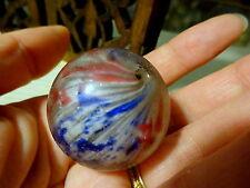 Riesiges Antik NEU Marmor Glas gezeichnet Tribal Perle Latticino Afrika TRADE 35
