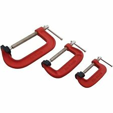 "Heavy Duty G-Clamp SET 3PZ 2 "" 3"" 4 ""C / W Soft mascella PADS 50mm 75mm, 100mm G MORSETTI"