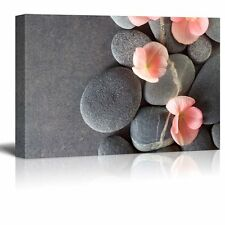 Wall26 - Peach Colored Flower on Smooth Zen Stones - Canvas Art - 24x36 inches