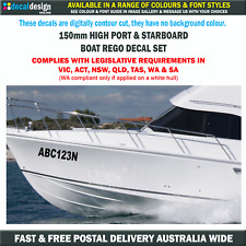 Boat Registration Decals 150mm High Rego Number Stickers Port & Starboard Sets