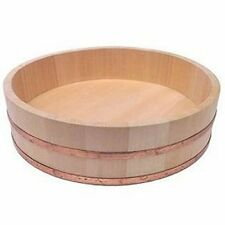 Professional Grade Sushi Rice Seasoning Hangiri Wood Bowl w Durable Copper Bands