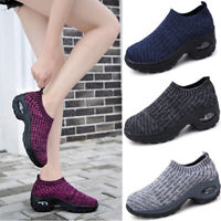 Women's Casual Sports Flyknit Shoes Slip On Outdoor Air Cushion Walking Trainers