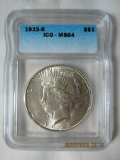 1923 S Peace Silver Dollar - Graded by ICG MS 64