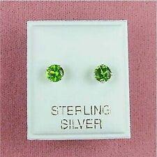 Peridot Cz Stud Earrings (Se085) Sterling Silver - 5mm Round