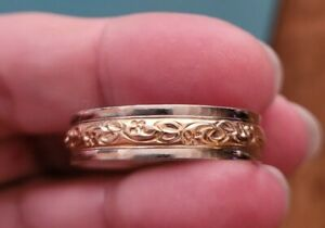 "Vintage 14k White/Yellow Gold Etched .25"" Wedding Band Mens Ring Size 12 7 grams"