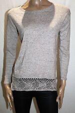 FAT FACE Brand Oatmeal Crochet Trim Long Sleeve Top Size 6 BNWT #TQ49