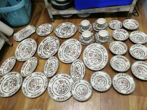 Johnson Bros Indian Tree dinner set 37 pc vgc oval plates cups bowls saucers etc