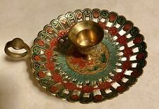 Penco Industries Colorful Brass Candle Holder W/ Handle Made in India ~ Vintage
