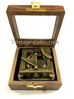 Antique Nautical Brass Square Sundial Compass Vintage Maritime Compass in Box