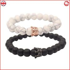 UEUC Distance Couple Bracelet with CZ Crown King&Queen Black Matte Agate & White