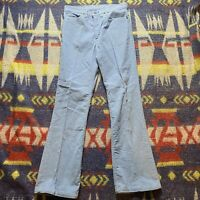 1970s Vintage Levis Corduroy Pants Powder Blue Flare Bottom 30x31