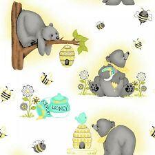 Fabric Baby Bears Bee Honey on White Flannel by the 1/4 yard