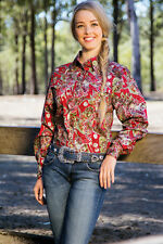 LADIES BRIGALOW L/S WESTERN STYLE PAISLEY COTTON SHIRT RIVERINA RED SIZES 10-24L