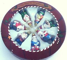 New & Unused Box of 7 Glass Santa Sports Christmas Ornaments