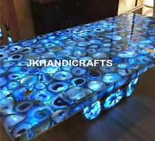 "48""x24"" Marble Side Dining Table Top Agate Inlaid LED Table Christmas Decor"