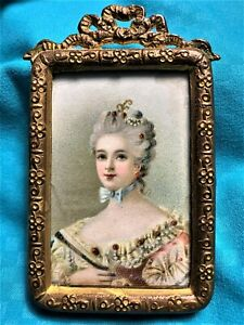 Antique Hand Painted Portrait in Gilt Ormolu Frame - French?