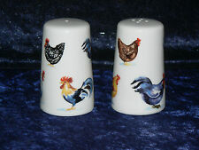 Chicken bone china cruet set. Salt pepper set dec with hens cockerels roosters