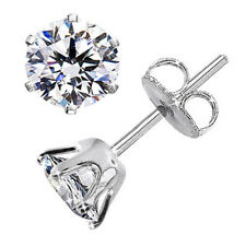 1.00 Carat Solitaire Diamond Studs White Gold Finish 5 MM 6 Prongs A4