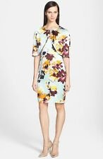 St. John Collection Floral Print Silk Charmeuse Dress with Capelet ( Size 14)