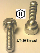 """1/4-20 x 3/4"""" Knurled Thumb Screw (10 Pieces) Aluminum Silver Anodized Finish"""