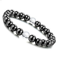 8mm Magnetic Hematite Round Beads Clear Crystal Gem Stretch Therapy Bracelet