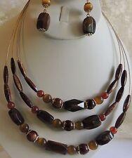 Amber Chocolate Gold Multi Strand Choker Necklace & Drop Dangle Earrings