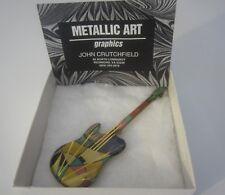 VINTAGE SIGNED JOHN CRUTCHFIELD METALLIC ARTS GRAPHICS GUITAR PIN BROOCH UNIQUE