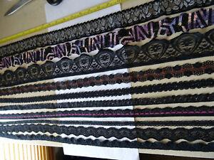 Job Lot Off-Cuts Black STRETCH Lace 10 x 1m lengths Lace Bundle