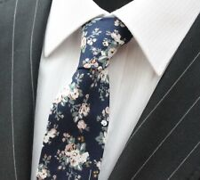 Tie Neck tie Slim Navy Blue White Rose Floral Quality Cotton T6003