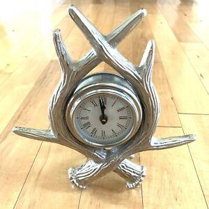 Deer Horn Mantle Clock Metal Rustic Finish Detailed Tested Organic Cottage