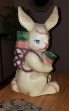 """Charming Vintage Large Hand Painted Colorful Paper Mache' Bunny Rabbit~12.5""""!"""