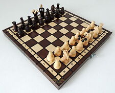 BRAND NEW HAND CRAFTED KINGDOM WOODEN CHESS SET 31cm / 12 inches BROWN