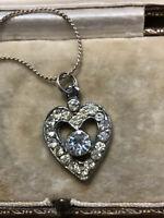 Vintage Silver Tone Paste Heart Necklace