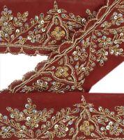 Vintage Sari Border Antique Hand Beaded 1 YD Indian Trim Ribbon Maroon Deco Lace