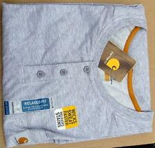 Carhartt Force Cotton Short-Sleeve Henley Shirt  Heather Gray Large
