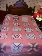 1920s Pieced Quilt; Flying Geese, Pink Separator, As Is