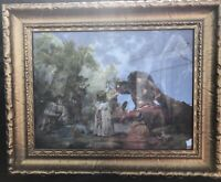 Late 19th Cent. Hand Colored Collotype Print/ Children Boat Battle/ Gilt Frame